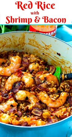 Red Rice with Shrimp and Bacon - Spicy Southern Kitchen Cajun Recipes, Shrimp Recipes, Fish Recipes, Gourmet Recipes, Cooking Recipes, Healthy Recipes, Cooking Tips, Cajun Cooking, Burger Recipes