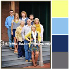 family photo colors. yellow, light blue, navy, grey. #familypictures #familycolorscheme #colorscheme