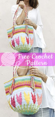 Crochet Bags Patterns Crochet bag with colored pattern and flowers. The piece is worked in 2 strands DROPS Paris I hope you have enjoyed this beautiful crochet, the free pattern is HERE so you can make a beautiful crochet. Crochet Handbags, Crochet Purses, Crochet Bags, Tapestry Bag, Tapestry Crochet, Crochet Designs, Crochet Patterns, Crochet Shell Stitch, Crochet Accessories