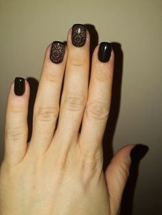 black nails with stamping- elegant design 🖤