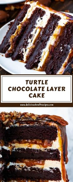 This Turtle Chocolate Layer Cake starts with rich, decadent and moist chocolate cake layers that are filled with a caramel pecan sauce and covered in a smooth caramel frosting, then finished off with a caramel and ganache drip and chopped pecans! Food Cakes, Cupcake Cakes, Muffin Cupcake, Just Desserts, Dessert Recipes, Recipes Dinner, Dinner Ideas, Chocolate Turtles, Layer Cake Recipes