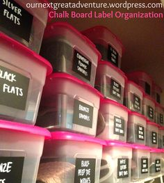 Chalk Board Label Organization.    Inexpensive plastic shoe boxes, chalkboard contact paper, & a chalk pen.