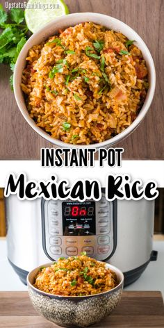 Best recipe for Instant Pot Mexican Rice - quick and easy to make in a pressure cooker! It is an easy and vegan one pot meal that makes a delicious side dish and goes well with tacos, burritos, refried beans or your favorite Mexican dinner. Taco Side Dishes, Side Dishes Easy, Side Dish Recipes, Food Dishes, Mexican Rice Recipes, Rice Recipes For Dinner, Instant Pot Dinner Recipes, Mexican Rice Recipe In Rice Cooker, Spicy Mexican Rice