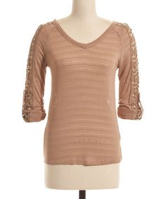 Love this Taupe Stripe Lace V-Neck Top by Coveted Clothing on #zulily! #zulilyfinds