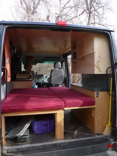 """Fold-out bed in """"Dudley"""" DIY Sprinter conversion. Making the most of space in a 118"""" Sprinter camper van!"""