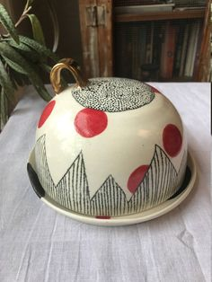 Hand made Cheese Plate, Cheese Server, Dome, Cover, Butter Dish, Black, White, Red, Gold Luster by cperryceramics on Etsy