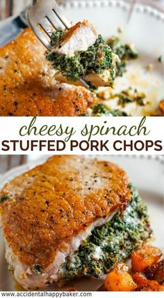 Golden browned pork chops stuffed with a creamy and savory spinach and cheese filling that tastes like spinach dip.These spinach stuffed pork chops look and taste fancy, but are on the table in about 20 minutes! Pork Tenderloin Recipes, Pork Chop Recipes, Meat Recipes, Cooking Recipes, Stuffed Pork Recipes, Healthy Pork Recipes, Recipies, Dinner Recipes, Boneless Pork Chops