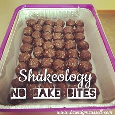 Shakeology No-bake bites. 21 Day Fix treat. Dessert or Snack . Ingredients (per 12 servings) * 1 Cup Chocolate Shakeology (I use Vegan) * 1 Cup All-Natural Nut Butter (I use peanut) * 1 Cup Rolled Oats (I used gluten-free!) * 1/2 Cup Pure Honey Directions * Mix all ingredients-- I used my hands, after washing of course! :) * Roll into 1 inch balls * Place on wax paper and refrigerate or freeze. Or eat right after, if you can't control yourself...