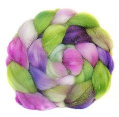 MERINO SILK hand dyed wool roving