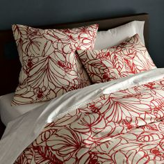 Sketch Duvet Cover + Shams- Ivory/Maple by west elm ($39.99/Queen). Flower bed. A hand-drawn sketchbook floral, reinterpreted onto soft cotton. 200-thread-count. Button closure on duvet.