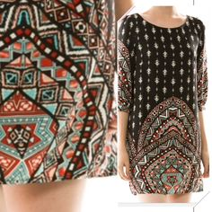 """MULTI PRINT BOAT NECK SHIFT DRESS This is so cute! Pretty multi print on black shift dress. Boat neck, 100% polyester. 34"""" long, lined. Imported. NWOT♦️SMALL SOLD OUT tla2 Dresses"""