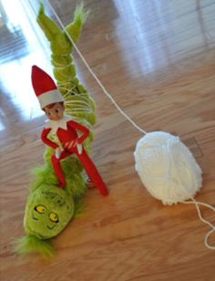 Elf on the Shelf captures the Grinch. The perfect elf setting for Grinch movie day or night. Either the 1966 cartoon with Boris Karloff or the 2000 film with Jim Carrey.
