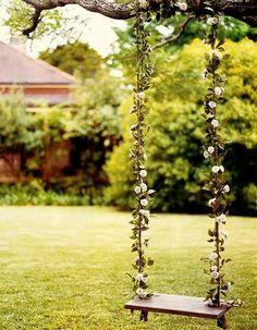 Tree swing in the backyard.This reminds me of the Secret Garden :D Dream Garden, Home And Garden, Outdoor Spaces, Outdoor Living, Wedding Swing, Garden Wedding, Summer Wedding, The Secret Garden, Pink Wallpaper