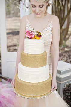 tall gold and white cake @weddingchicks