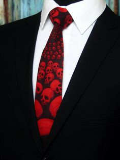 Red Skull Tie – Mens Halloween Necktie – Unique Black with Red Skulls Cotton Neck Tie. by EdsNeckties on Etsy  www.EdsNeckties.com