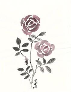 Rose in suibokuga (sumi-e) style