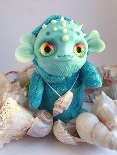 FANTASY pluche dier Magic vis schepsel Ooak Fantasy schepsel Doll Dory sculptuur Pop Art Fantasy sculptuur vis speelgoed Ooak vinden Dory