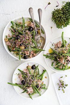 Recept: salade van sperziebonen, tonijn & kiemgroenten | Gezond Idee