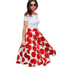 19f6be0f6892 Summer Vintage Off Shoulder Polka Dot Pinup Dress* Casual Summer Dresses, Casual  Dresses For
