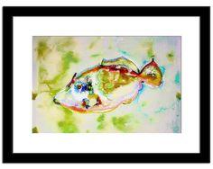"Fine Art Painting, Koi fishes painting, Nautical Decor, Original Pastel Artwork 11"" x 8"""