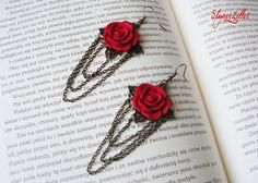 Romantic openwork earrings with polymer clay roses by Benia1991