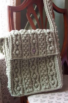Bobbling Along Aran Tote - Free Crochet Pattern by Celeste Young Designs    Messenger bag style!