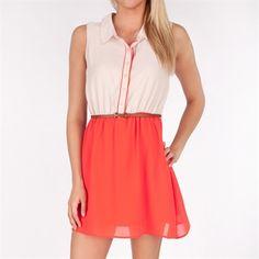 Olive & Oak Women's Contemporary Belted Color Block Shirtdress #VonMaur #OliveAndOak #Orange #Belted #ColorBlock