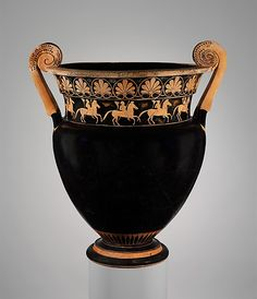 Terracotta volute-krater (bowl for mixing wine and water)  Attributed to the Karkinos Painter     Period:      Archaic  Date:      ca. 500 B.C.  Culture:      Greek, Attic  Medium:      Terracotta