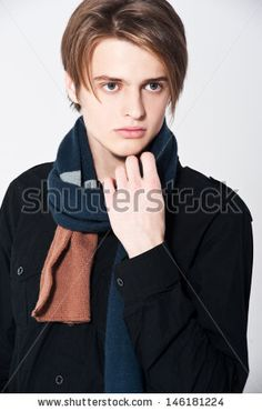 Fashion model with scarf - stock photo