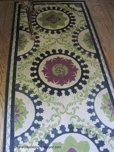 Simple Details paint a rug Painted Floor Cloths, Stenciled Floor, Painted Rug, Painted Floors, Hand Painted, Painted Furniture, Stencil Rug, Stencils, Diy Flooring