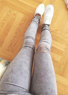 destroyed Jeans  Löcher risse grau Skinny Blogger Swag Röhrenjeans 5