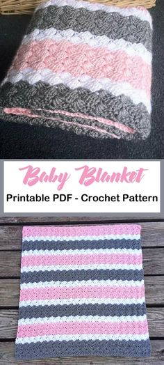 Make a pretty pink and gray baby blanket. Crochet Baby Blanket Patterns - A More. : Make a pretty pink and gray baby blanket. Crochet Baby Blanket Patterns – A More Crafty Life Crochet Baby Blanket Free Pattern, Baby Afghan Crochet, Manta Crochet, Afghan Crochet Patterns, Baby Patterns, Crochet Owls, Amigurumi Patterns, Crochet Animals, Free Crochet