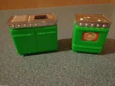 Vintage Blue Box Plastic Miniature Doll House Furniture Sink Stove | eBay