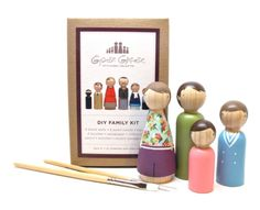 Ready made, fair trade DIY wooden doll family paint kits: terrific gift.