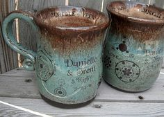 Handmade Coffee Mugs  Set of 2  Personalized by CropCircleClay, $94.00 by janie