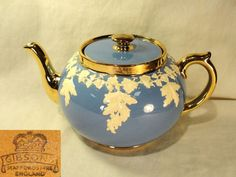 Vtg Gibsons Staffordshire Blue White Gold Gilt  English Tea Pot Teapot