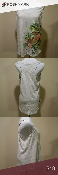 Merona Top! Too Cute! Size Large and 100 % cotton by Merona!..Light gray with floral print down one side Merona Tops