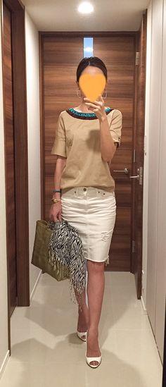 Beige top: ZARA, White denim skirt: AG, Zebra scarf: No Brand, Gold bag: la kagu, White sandals: MIU MIU