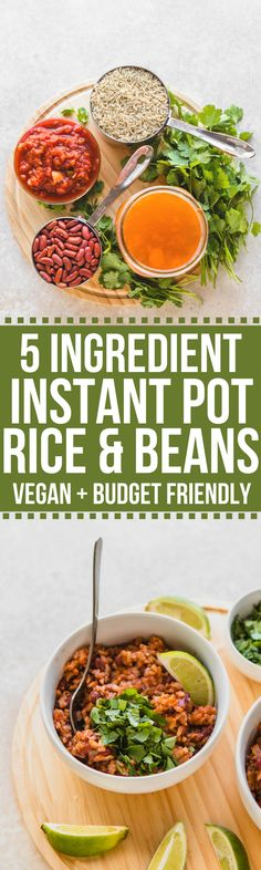 Instant Pot Rice & Beans that are perfect for meal prep or an easy dinner! An easy pressure cooker recipe with only 5 ingredients #vegan #instantpot #pressurecooker #riceandbeans #easydinner #glutenfree #plantbased #mealprep via frommybowl.com