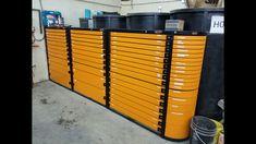 Wall of Tool Storage Tool Storage, Garage Storage, Storage Bins, Locker Storage, Storage Ideas, Garage Tools, Garage Shop, Garage Workshop, Steel Workbench