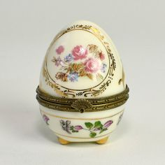 Vintage Decorated Egg Trinket Box -