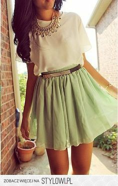 Love this belted high waist skirt... The color combination is fab