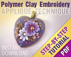 Floral PENDANT Pdf Step-by-Step Photo Tutorial. Polymer clay filigree applique embroidery instruction. Instant download digital file. Lesson...