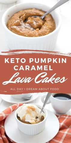 Dreamy keto pumpkin dessert recipe! Tender keto pumpkin lava cakes with a center of gooey sugar-free caramel. Low Carb Sweets, Low Carb Desserts, Low Carb Recipes, Dessert Recipes, Low Carb Mug Cakes, Keto Mug Cake, Sugar Free Diet, Ketogenic Desserts, Lava Cakes