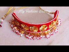 how to make beautifull,creative gotta patti necklace Diy Fabric Jewellery, Handmade Jewelry Designs, Gota Patti Jewellery, Handmade Statement Necklace, Diy Necklace, Diy Choker, Bracelet Crafts, Textiles, Necklace Designs