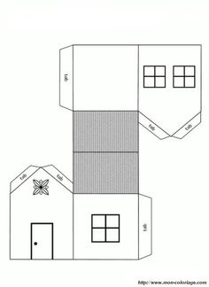 house cutout craft coloring page print