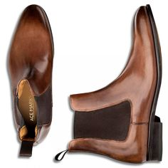 Chelsea Boot Troy Dress Boots in Brown Antique Italian Leather