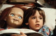 chucky and andy. andy sleeping with his doll. Gud night andy