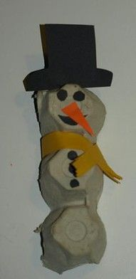Use an egg carton for a snowman