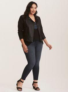 288bbb2239a82 Black Faux Leather   Knit Moto Jacket
